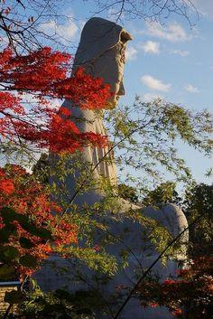 Ryozen Kannon, Giant White Buddha, Kyoto - Japan