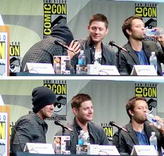 [gifset] Jared crying into Jensen's shoulder. #SDCC15