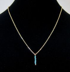Tiny Faceted Turquoise Glass Bead Drop Pendant Gold Chain Necklace - Perfect to layer!