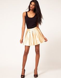 Rare Metallic PU Skater Skirt