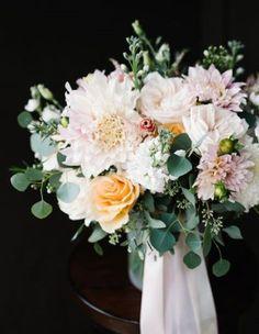 Gorgeous textured bridal bouquet of dahlias, garden roses, stock, eucalyptus, and lisianthus. Neutral Wedding Flowers, Wedding Flower Guide, Wedding Table Flowers, Wedding Flower Arrangements, Flower Bouquet Wedding, Wedding Ideas, Peach Bouquet, Hand Bouquet, Floral Arrangements