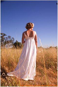 Chiffon Scoop Ausschnitt mit Applikationen bodenlanges Brautkleid für Schwangeren
