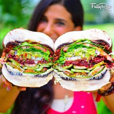 """Meat-free, dairy-free, and gluten-free. This burger actually does your body GOOD! Rich flavors + colorful layers = out of this world taste! Can you say, """"WHATABURGER? Raw Vegan Recipes, Vegan Foods, Vegan Dishes, Vegan Vegetarian, Vegetarian Recipes, Vegan Raw, Roh Vegan, Dessert Aux Fruits, Vegan Burgers"""