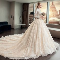 Illusion Champagne Pierced Wedding Dresses 2019 A-Line / Princess High Neck Long Sleeve Backless Appliques Lace Cathedral Train Ruffle - Hochzeitskleid Princess Wedding Dresses, Elegant Wedding Dress, Bridal Dresses, Lace Wedding, Wedding Hair, Wedding Gowns, Cathedral Wedding Dress, Cathedral Train, Long Cocktail Dress