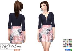83442a18854 Zippered V Neck Dress In Prints (25 Swatches) - created by NY Girl Sims
