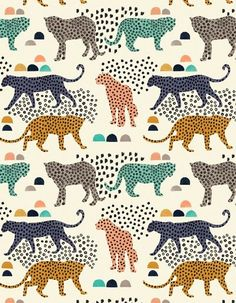 New Cats Design Illustration Print Patterns Ideas Design Textile, Textile Patterns, Textile Prints, Print Patterns, Motif Jungle, Jungle Pattern, Jungle Print, Surface Pattern Design, Pattern Art