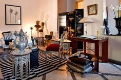 Where to Shop Villa M Owned by decorator Jérôme Vermelin, this furnishings mecca in Guéliz is stocked with inlaid chairs, Art Deco artifacts, and jewels—all housed in a mid-20th-century relic of Marrakech's French colonial days. 18 Rue Iman Malik; 011-212-546-92-06-89