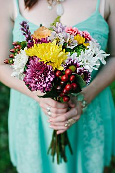 Colorful Rustic Wedding Bouquet|Whimsical Summer Wedding |Photographer: Darkershadesofbrown Photography
