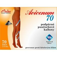Support tights Aries AVICENUM 70 provide support and improve blood circulation. Favorable effect against the formation of varicose veins and cellulite. AVICENUM 70 prevents intermittent swelling, such as prolonged standing or sitting.Sanitized Silver Antimicrobial treatment with active silver ions prevents the reproduction of microorganisms. 76 % Nylon, 24 % Lycra. Pressure at the ankle 10-14 mmHg. Buy on ACTIVtights.com