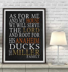 "Anaheim Ducks hockey inspired Personalized Customized Art Print- ""As for Me"" Parody- Unframed Print"