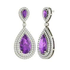 Pear-Cut Amethyst Earrings in 14k White Gold with VS Diamond
