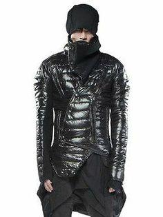Demobaza Men's : Cowl neck shirt, puffy jacket