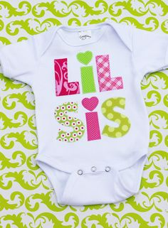 Little Sister shirt, lil sis onesie...sibling baby shower gift, photos. $21.99, via Etsy.