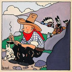"An original Hergé painting for the cover of the first Tintin album ""Tintin en Amérique"" (Tintin In America) made in 1932."
