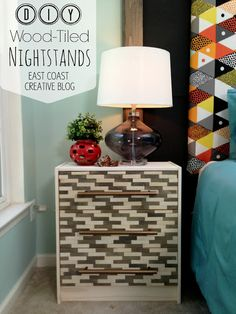 East Coast Creative: Wood-Tiled Nightstands {Knock It Off DIY Project} although I'm actually pinning it here because I love the wall color Ikea Hack Nightstand, Ikea Rast Dresser, Nightstands, Dressers, Furniture Makeover, Diy Furniture, Furniture Refinishing, Knock Off Decor, Painted Furniture
