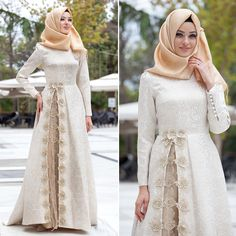58 Trendy Ideas For Dress Brokat Peach Islamic Fashion, Muslim Fashion, Modest Fashion, Fashion Dresses, Kebaya Muslim, Muslim Dress, Hijab Dress, Dress Muslim Modern, Abaya Style