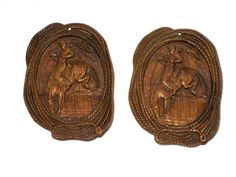 2 vintage pressed wood cowboy rodeo wall plaques horse and rider rope edges by sweetalicelovesyou on Etsy