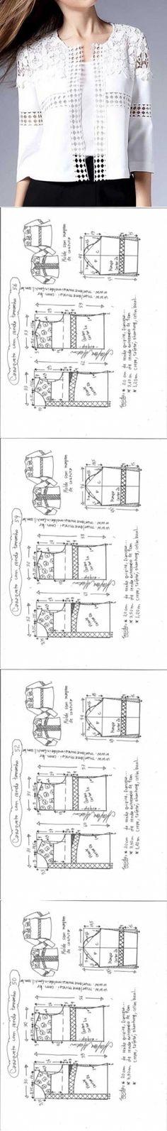 Casaqueto com entremeio   DIY - molde, corte e costura - Marlene Mukai