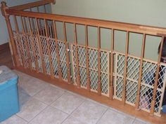 Cheap way to child proof a stairway with banisters which ...