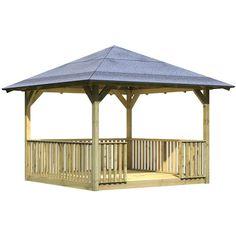 Kiosque en bois carré 2.89 x 2.89m