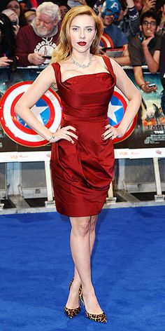 2014 SCARLETT JOHANSSON More Scarlett in scarlet. The expectant star grabs our attention (and keeps it – we'll be talking about this outfit all weekend) with a structured, cleavage-enhancing Vivienne Westwood design, a matching pout and mani and leopard-print heels at the Captain America: The Winter Soldier premiere in London.