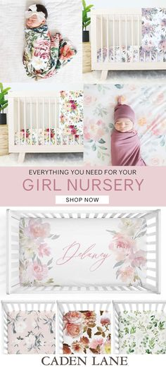 Everything you need for your dream baby girl nursery! Super soft crib sheets + personalized EVERYTHING + blankets + swaddles + decor. Baby Girl Nursery Bedding, Baby Boy Nurseries, Nursery Room, Crib Bedding, Baby Room, Bedroom, Nursery Themes, Nursery Decor, Nursery Ideas