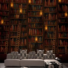Cheap wallpaper gallery, Buy Quality wallpaper animal directly from China wallpaper landscape Suppliers: large Mural 3d stereo bookcase seclusion sofa study background wallpaper vintage home decor murals wall stickers eco-friendly
