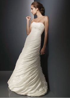 Awesome Taffeta Chapel Train Empire Strapless Wedding Dress With Pleats