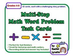 Each of these 32 Math Challenge Task Cards has a different multi-step math story problem. Students will use all four operations as they solve the problems. There are some that involve money, measureme (Step Class Word Problems) Math Story Problems, Word Problems, Fun Math, Maths, Math Classroom, Classroom Ideas, Teaching Math, Teaching Ideas, Math Challenge