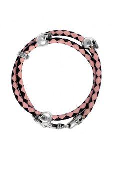 Thin Braided Double Wrap Leather Bracelet w/ Three Hamlet Skulls