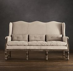 Deconstructed Wingback Settee  Restoration Hardware