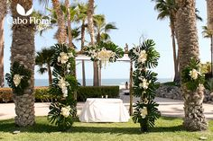 Ultra elegant wedding ceremony Huppa at the Hilton Los Cabos. Thank you to the artist Rene Larios at Cabo Floral Studio