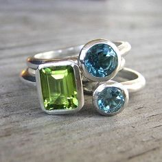 Peridot and Swiss Blue Topaz Stacking Rings
