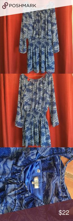 Guess casual blue dress with slip attached. Great condition Blue dress with slip attached to the skirt. It has some cute open details in the shoulder area. Guess Dresses