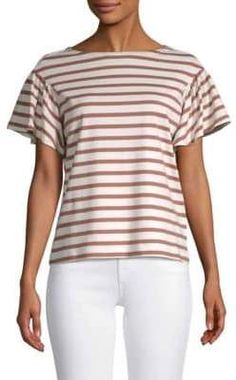 Kate Spade New York - Striped Cotton Top Short Sleeve Tee, Short Sleeves, Betty Cooper, Stripes Design, Kate Spade, Tees, How To Wear, Cotton, York