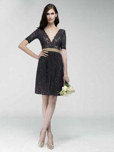 2015 Style Sheath/Column V-neck Short/Mini Tulle Bridesmaids Dresses #QB378