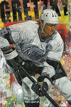"""Wayne Gretzky-Los Angeles Kings"" by Stephen Holland Nhl Shop, La Kings Hockey, Hockey Pictures, Wayne Gretzky, Los Angeles Kings, Sports Figures, Hockey Cards, National Hockey League, Koh Tao"