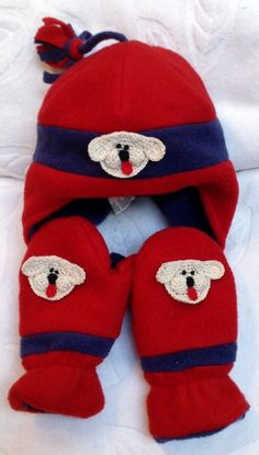 Boys Baby Infant Toddler Red Blue Fleece Hat Mittens by ByCyndie