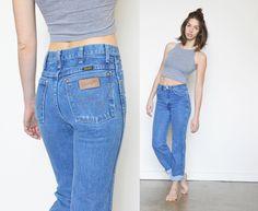WRANGLER High Waist BOYFRIEND Jeans / DENIM by shopfuture on Etsy