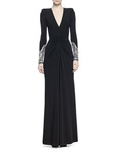 Crystal-Embellished+Ruched+Gown+by+Alexander+McQueen+at+Neiman+Marcus.