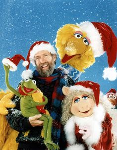 Merry Christmas from the Muppets. Jim Henson, Kermit the Frog, Miss Piggy, Big Bird and Gobo Fraggle. A Christmas Story, Christmas Movies, Vintage Christmas, Muppets Christmas, Merry Christmas, Christmas Stuff, Christmas Shows, Kids Christmas, Muppet Babies