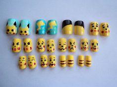 Pikachu Nail Art Nail Art Designs Images, Nail Designs, Fancy Nails, Cute Nails, Pikachu Nails, Hair And Nails, My Nails, Pokemon Fake, Nail Art Hacks
