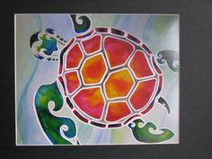 "Tropical Escape - Hawaiian Tribal Sea Turtle Watercolor Art Turtle 8""x10"" Print Matted to 11""x14"""