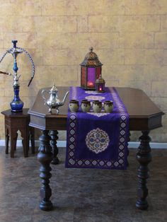 Sultans Palace ~ Purple Blue Moroccan Vintage Table Runner
