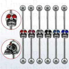 Barbell de acero quirúrgico industrial. 38 mm largo y bolas de 5 mm. Con calavera de ojos de cristal en el medio.Para el pabellón auricular. Colores surtidos, 4.77