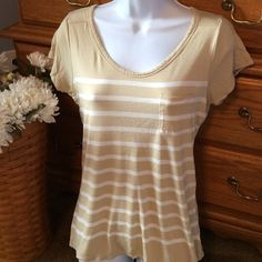 Old Navy Tan Shirt Only wore once because it washed me out!  Tan stripe 100% rayon. Excellent condition. Old Navy Tops Tees - Long Sleeve