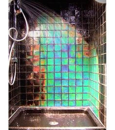 Moving Color glass tiles are just plain cool. They come in a few different designs, including tye dye. The tiles can be installed in any interior room and change colors with heat exposure, so they're ideal for showers.