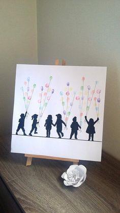 Arbre à empreintes cadeau maîtresse école, maître, crèche, nounou, assistante maternelle ... avec 1 encreur 6 couleurs offert