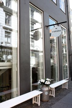"Shopfront at cafe ""the yogurt shop"" copenhagen, denmark by l Cafe Exterior, Interior Exterior, Exterior Design, Interior Architecture, Cafe Restaurant, Restaurant Design, Seafood Restaurant, Shop Interior Design, Retail Design"