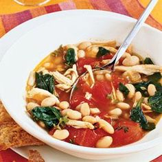Chicken, White Bean, and Spinach Stew Recipe | MyRecipes.com